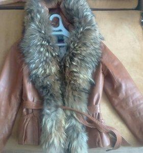Куртка из натуральной кожи с натуральным мехом