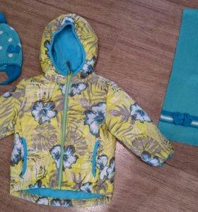 Куртка весна-осень фирмы Gusti размер 92, шапка и