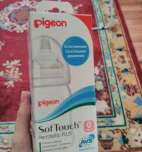 Новая Бутылочка pigeon с соской 0+ (размер ss)