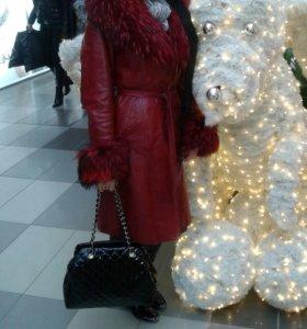Пальто Зима нат.кожа,нат мех.