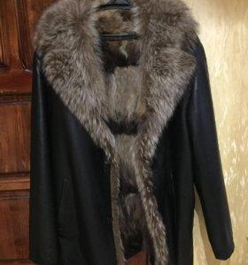 Мужская, зимняя кожаная куртка на меху