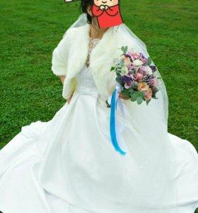 Свадебное платье,шубка
