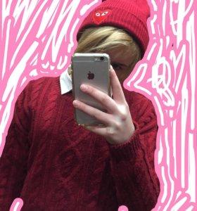 Красный свитер + шапка