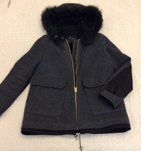 Пальто ZARA c капюшоном