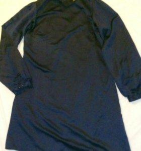 Платье атласное тёмно-синее