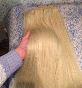 Волосы на заколках ,50 см,блонд