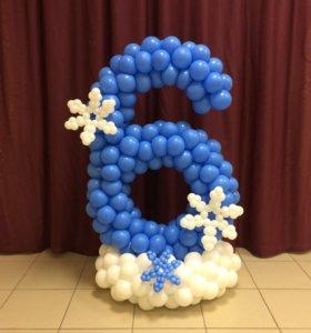 Цифры из воздушных шариков на детский праздник
