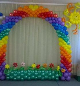 Оформление шарами выпускного в детском саду