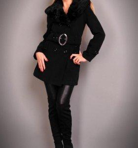 Пальто демисезонное черное 42-44