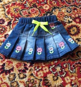 Джинсовая юбка в складочку детская