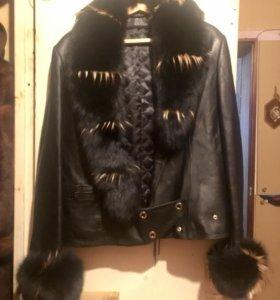 Куртка кожаная с мехом женская