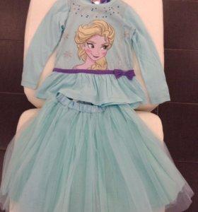 Новые юбка + кофта на рост 116, 110