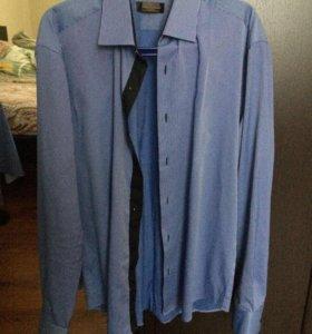 Рубашка синяя в полоску