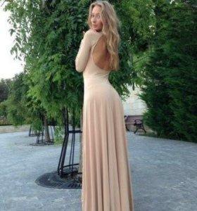 Платье в пол, бежевое