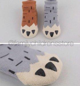Тёплые махровые носочки со стопперами