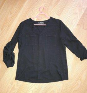Черная шифоновая блузка
