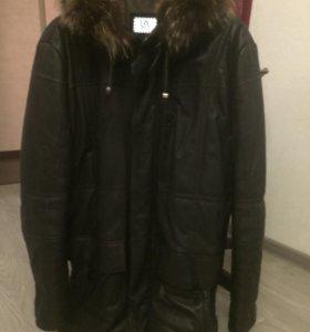 Зимняя куртка из натуральной кожи, с капюшоном