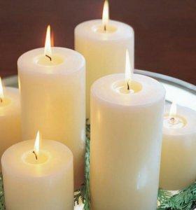 Свечи столбики цветные и белые