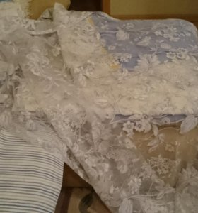 Штора мансардная + тюль+ наволочки+ткань+покрывало