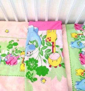 Новое постельное белье в детскую кроватку