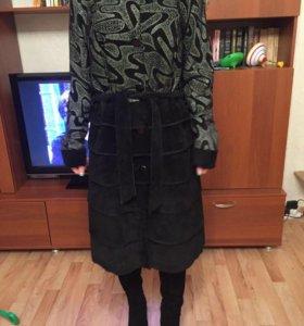 Замшевое пальто 46-48