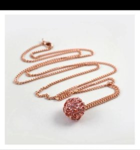 Цепочка с кулоном цвет розовое золото