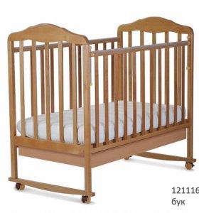 Кровать детская Березка. Автостенка, ящик, колеса