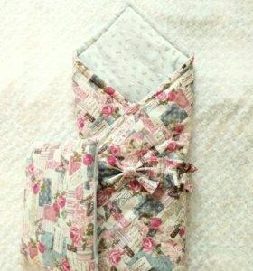 Комплект на выписку конверт-одеялко, бант, подушка