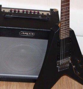 Гитара schecter demon V-1SBK в идеальном состоянии
