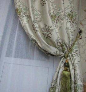 Новые шторы натуральный лен ткань жаккард 2полотна
