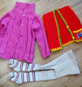 Детская одежда кофта,жилет,колготы 3-5 лет