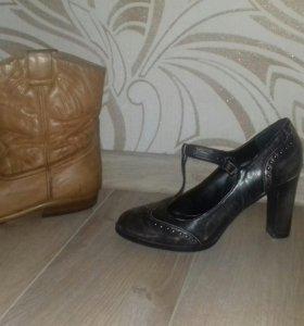 Сапоги 38разм.туфли37 и полусапожки 38 размер