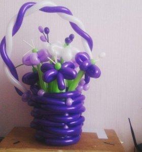 Цветы и корзинки из воздушных шаров