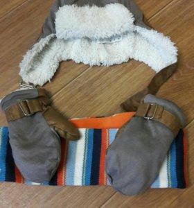 Комплект шапка, варежки и шарф