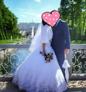 Свадебное платье+шубка+ зонтик+сумочка+перчатки