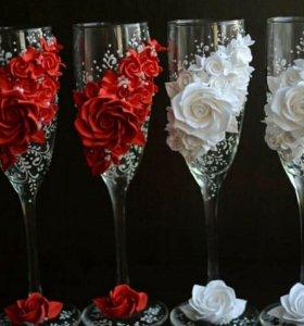 Бокалы с цветами из полимерной глины