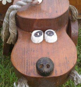 """Клумба деревянная """"Собака"""""""