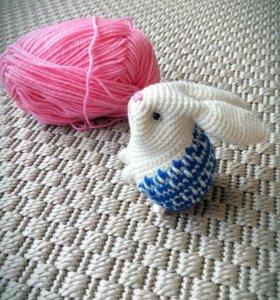 Игрушка Вязаная зайка вязаная мягкая игрушка