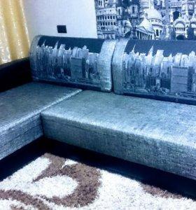 Универсальный, угловой диван с пеналом,пружинный