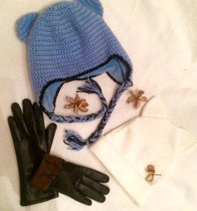 Шапочки с ушками, перчатки с мехом