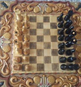 3 в 1 Шахматы + нарды + шашки с чехлом