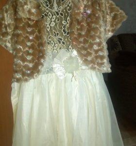Нарядное платье и шубка на девочку