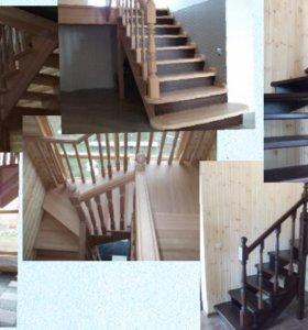 Изготовление и установка деревянных лестниц