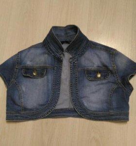 Джинсовая короткая курточка 48 размер