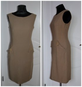Платье зара бежевое шерстяное плотное футляр новое