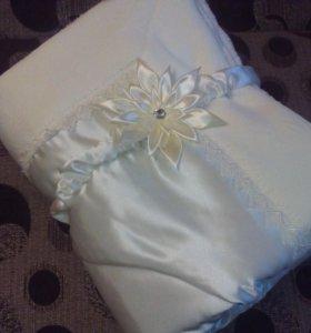На выписку Зимнее одеялко с уголочком и бантиком