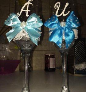 Оформление свадебных бокалов на ваш вкус