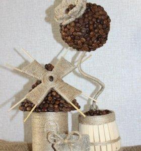 Кофейный топиарий + кофейная мельница