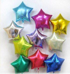 Воздушные шарики фольгированные звезды 45см гелием