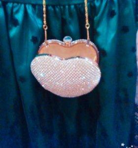 Красивая позолоченая сумочка ( мини)